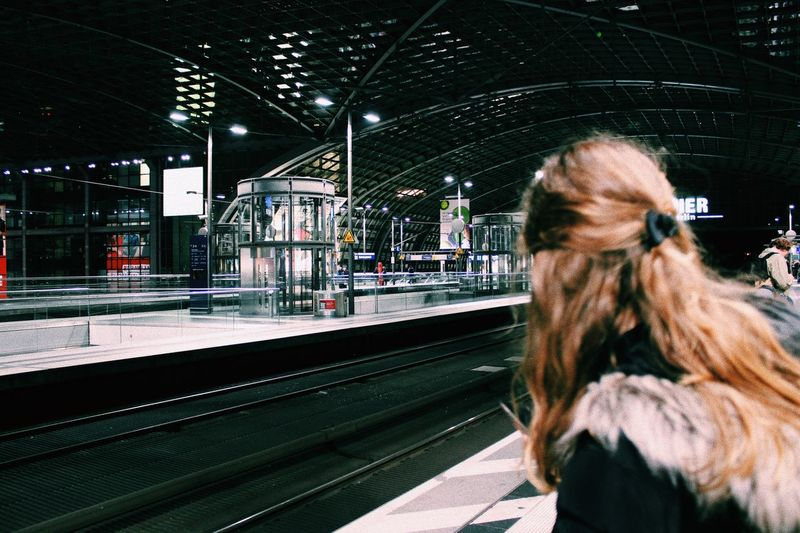 Light Travel Girl EyeEm Best Shots EyeEm Selects EyeEm Gallery Berlin One Person Transportation Real People Architecture Built Structure Railroad Station Platform City Lifestyles Railroad Station Glass - Material Nature Night Leisure Activity Adult Rail Transportation Public Transportation Rear View Track Waiting