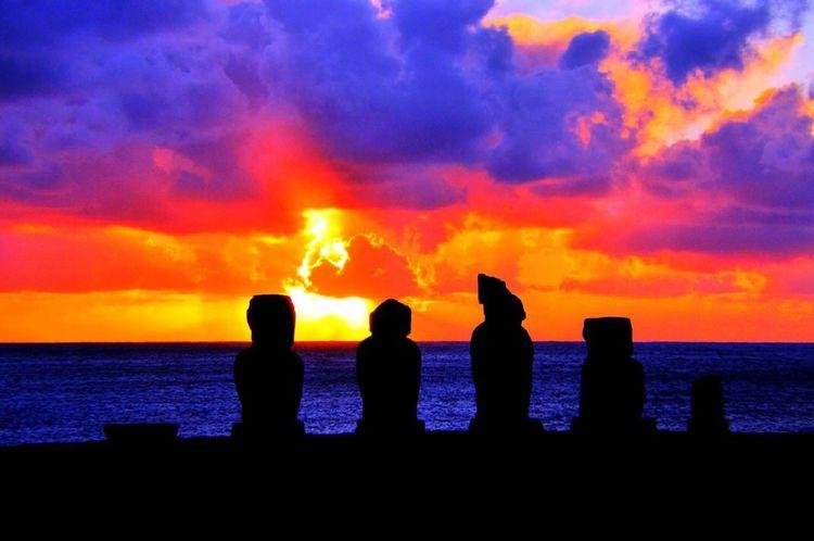#moai Silhouette Water Sky Sea Orange Color Sunset The Great Outdoors - 2018 EyeEm Awards Cloud - Sky Scenics - Nature