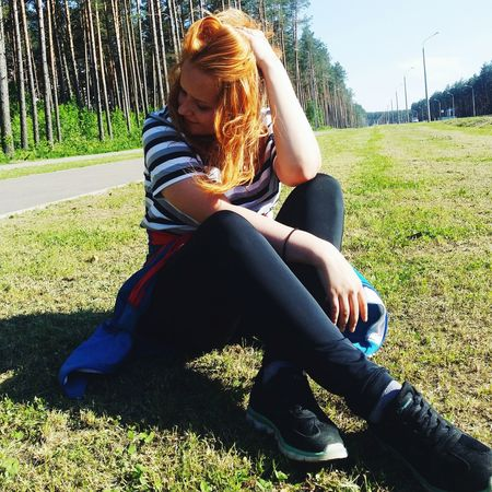 Hi! Relaxing Taking Photos That's Me Nature Summer Red Hair Girl Sport Keepfit