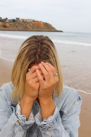 Hide! Sea One Person Real People Water Horizon Over Water Beach Young Women Front View Day Young Adult Leisure Activity Outdoors Nature Lifestyles Women Blond Hair Close-up Sky People Hide And Seek Hide Hands Beautiful