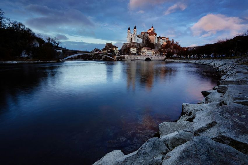Fortress of Aarburg Switzerland Landscape Sky Beauty In Nature No People Water Tourism Vacations Travel Switzerland Switzerlandpictures Sunset Castle Fortress
