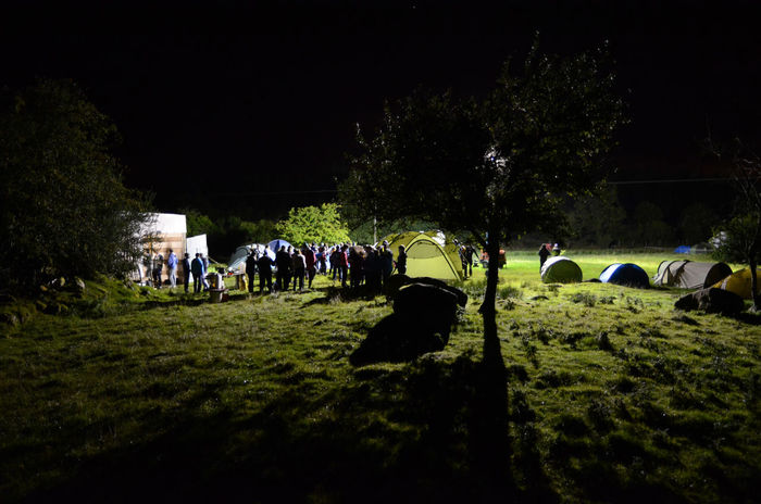 Grass Night Scene Camp Site Large Group Of People Night Outdoors People Real People