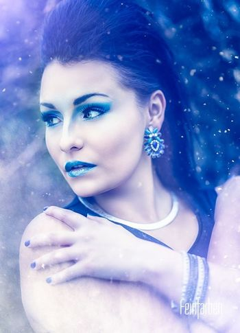Saphir I Feinfarben Photography Fantasy Portrait Makeup Saphire Blue Winter Model Queen Art Available Light Outdoor Creative Photoshop