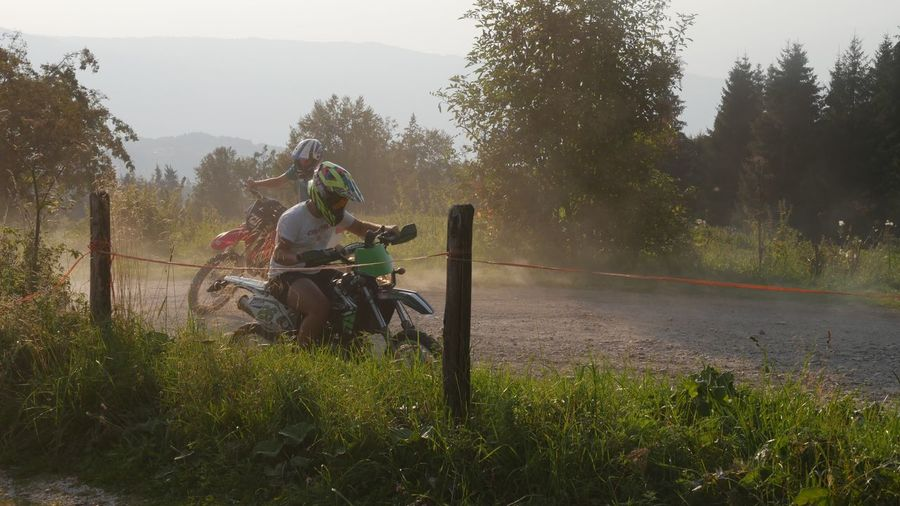 People riding motorcycle on road amidst trees