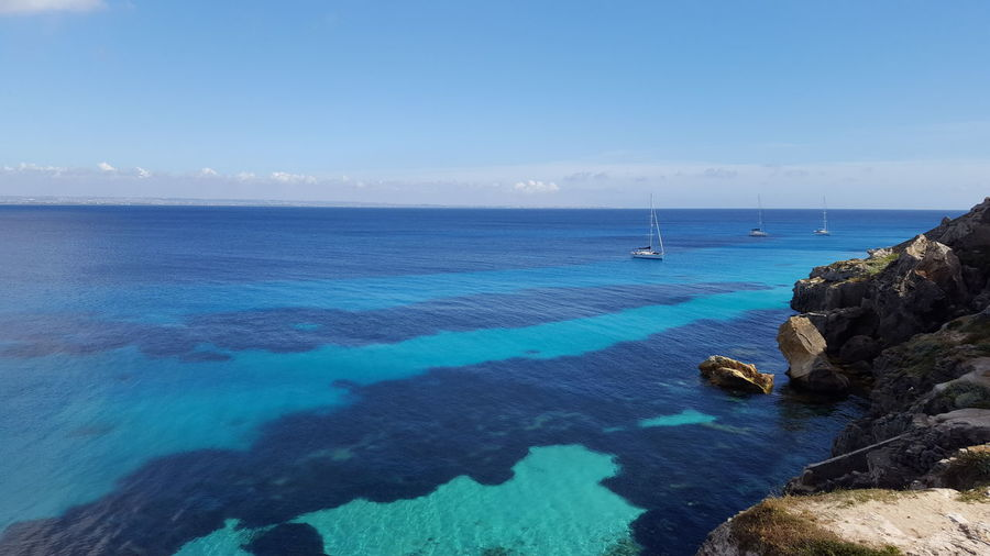 Favignana Isole Egadi Egadi Islands Holidays Favignana's Sea Beach Beauty In Nature Blue Day Favignana Horizon Over Water Idyllic Nature Nautical Vessel No People Outdoors Rock - Object Sailboat Sailing Ship Scenics Sea Sky Tranquil Scene Tranquility Water Yacht Done That.