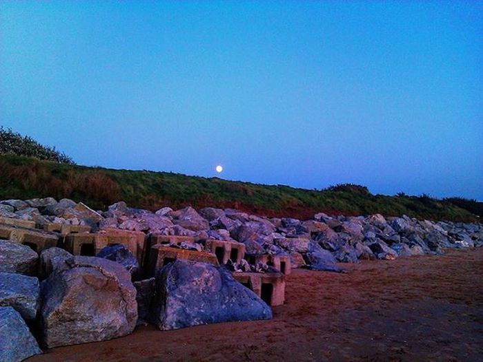Moon Astronomy Beach Beach Boulders Mizen Peninsula Wildatlanticway Ireland Beachlife Beauty In Nature Clear Sky Day Landscape Moon In Blue Sky Moonlight Nature No People Outdoors Sand Sky Stones Sunset Colours On Stones