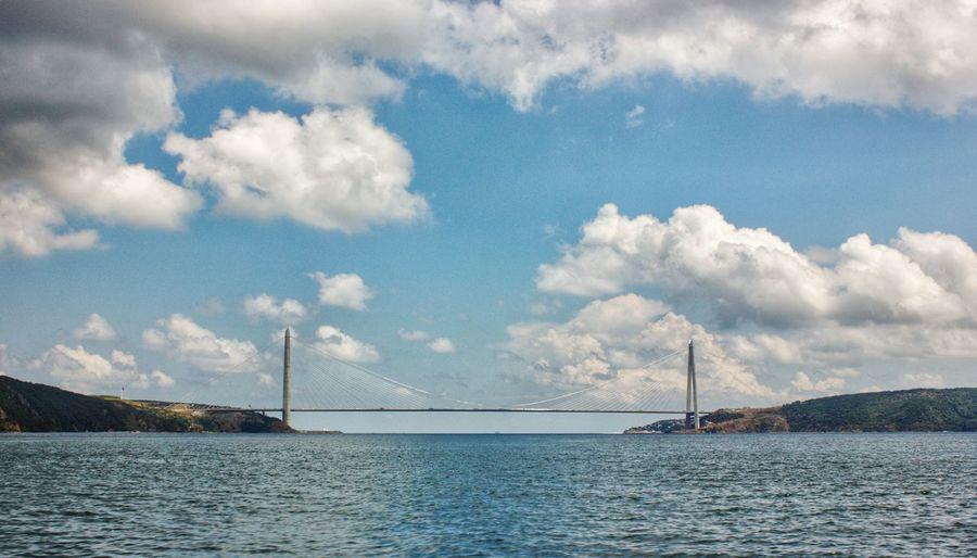 View of suspension bridge over sea against cloudy sky