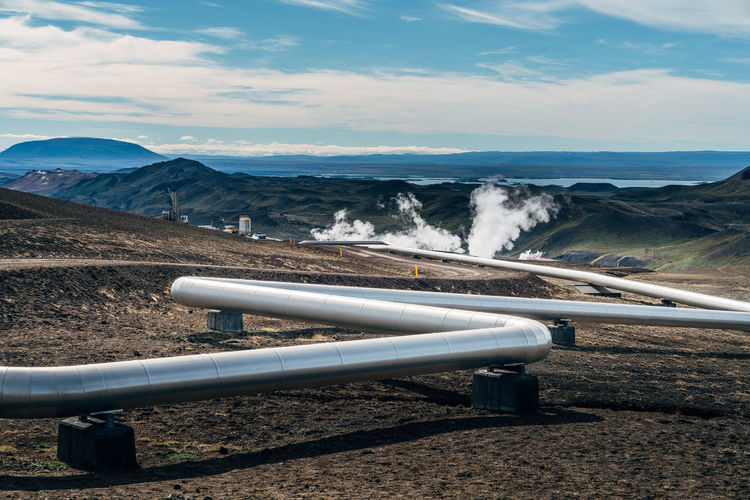 Scenic view of water pipe or pipeline in mountain panorama
