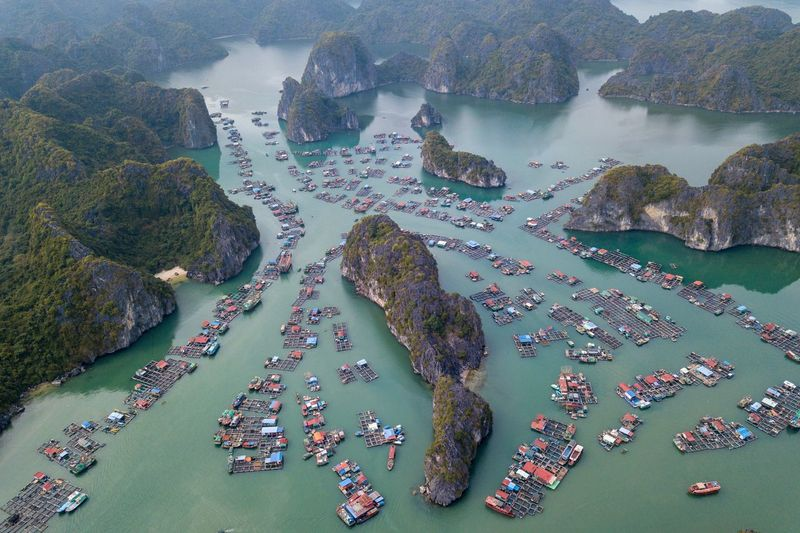 Fishing village Water Sea Nature Land Aerial View Beach Scenics - Nature Coastline Mountain Rock - Object Environment Tranquility Rock Day Outdoors Travel High Angle View Beauty In Nature Transportation