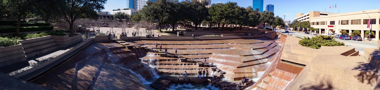 Panoramic view of the Active Pool at the Fort Worth Water Gardens, Fort Worth, TX Architecture Outdoors Panoramic View Park - Man Made Space Recreation  Sculpture Sunny Day Water Waterfall