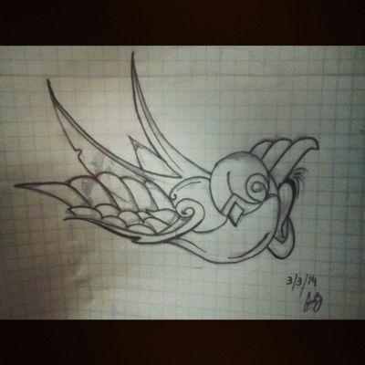 Aburrido, dibujando Golondrina Schwalbe Swallow Draw
