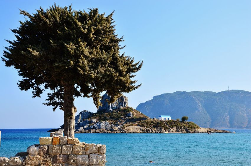 Beach Beauty In Nature Blue Clear Sky Day Grecia Greece Island Kos Landscape Nature No People Outdoors Rock - Object Scenics Sea Sea And Sky Seascape Seaside Sky Summer Tree Water