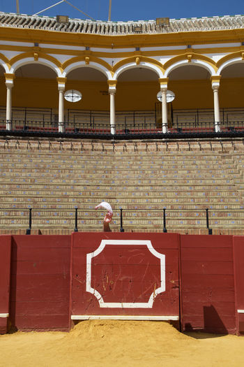 Andalucía Andalusia Bull Bull Fighting Bullring Cruelty Culture Day Empty Seats Empty Stadium España Fear Hot Outdoors Sand Seats Seville SPAIN Spectacle Stadium SURRENDER Theatre Tradition Warm White Flag