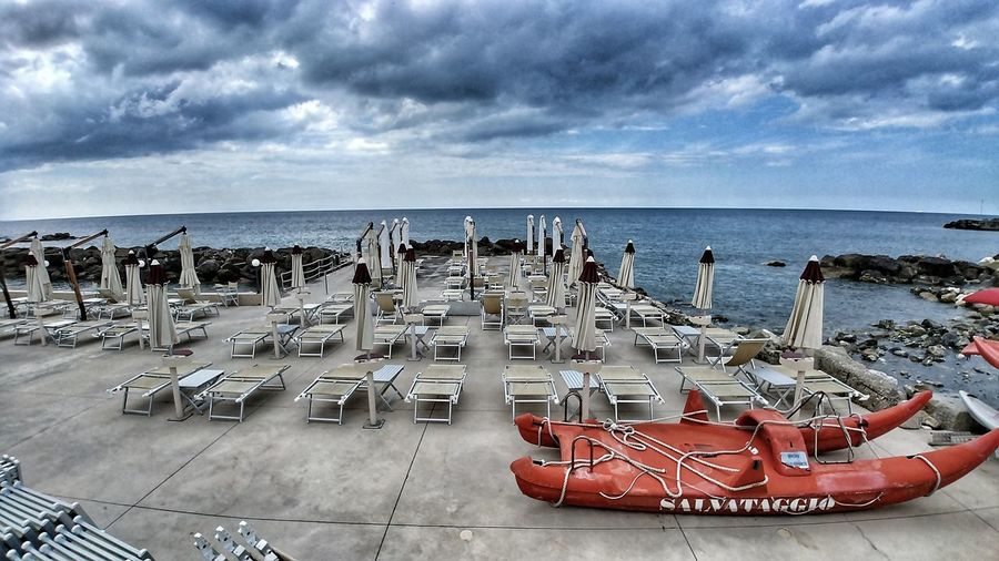 Tuscany Mediterranean  Tyrrenian Sea, Italy Water Sea Beach Sand Chair Outdoor Chair Sky Horizon Over Water Cloud - Sky Beach Umbrella