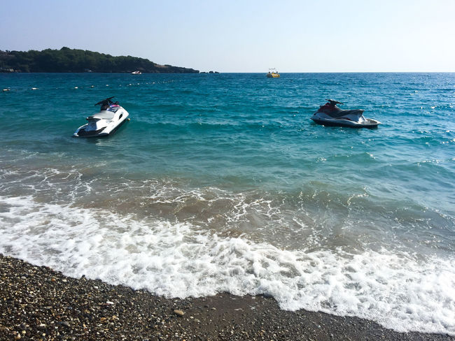 Two water motorbikes on a turkish beach Azure Beach Beauty In Nature Blue Day Holiday Mediterranean  Mediterranean Sea Motorbike Motorcycles Nature No People Outdoors Sea Summer Travel Vacation Vacations Water Wave