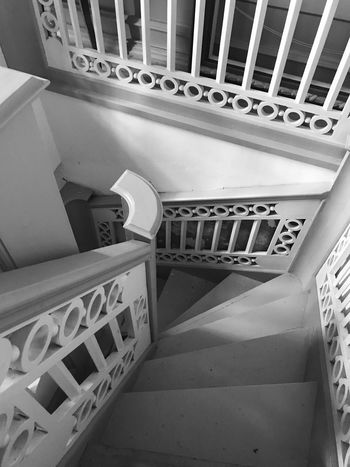 Made With IPhone 7 Black & White Indoors  Architecture Railing Steps And Staircases Built Structure Staircase High Angle View No People Spiral Staircase Metal Design Spiral Communication Technology Building Pattern Balustrade Directly Above Connection Direction