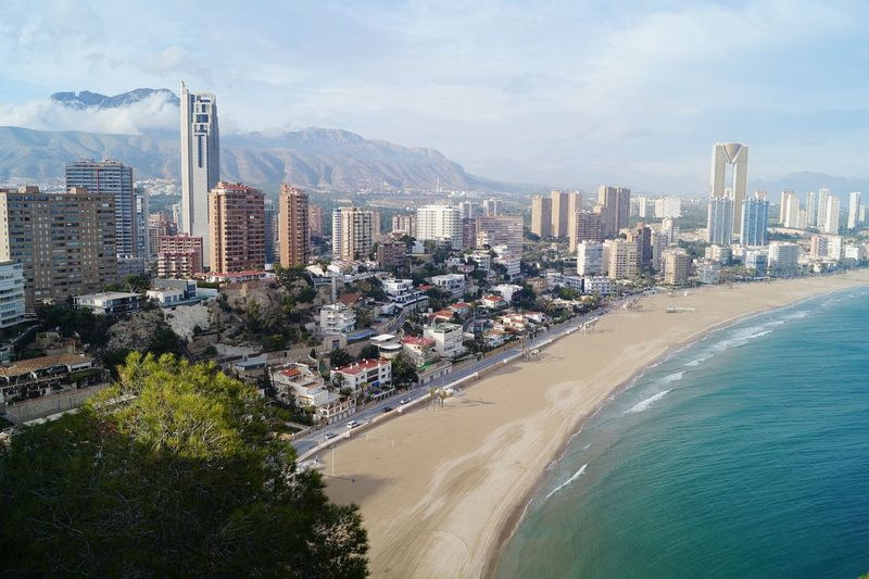 Aerial View Of City At Seaside