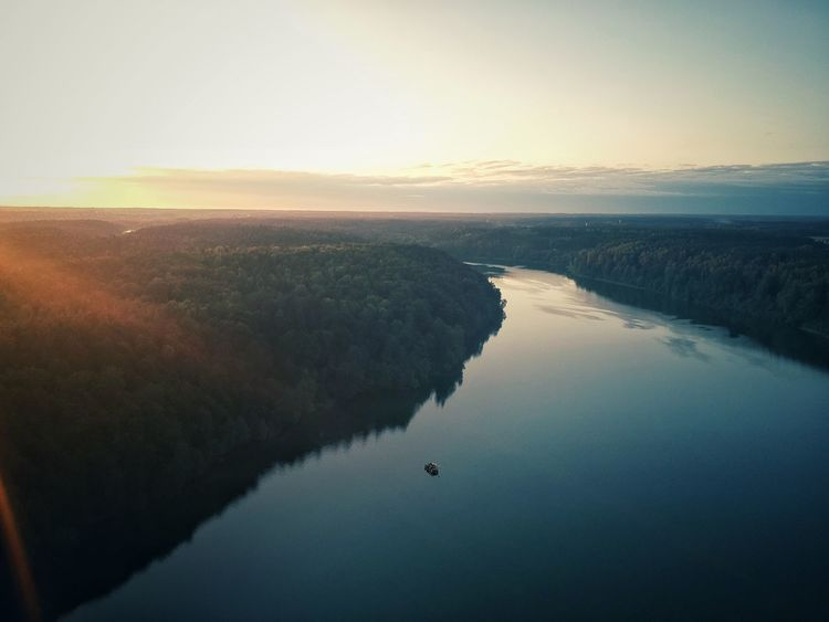 Sunset Tranquil Scene Scenics Nature Beauty In Nature Tranquility Water No People Sky Landscape Clear Sky Outdoors Evening Autumn Autumn Colors Aerial View Lithuania Nature Birds Eye View Lithuania Žalieji Ežerai Lake View
