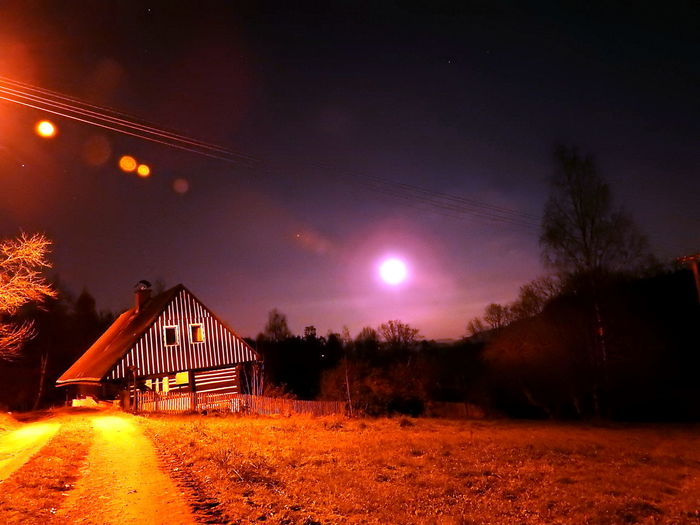 Beauty In Nature Illuminated Luna Moon Moonlight Měsíc Nature Night No People Outdoors Scenics Sky Star - Space Tranquility Tree úplněk