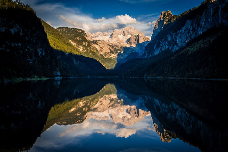 gosausee reflection Austria Beauty In Nature Cloud - Sky Dachstein Day Gosausee Idyllic Lake Landscape Mountain Mountain Range Nature No People Outdoors Reflection Rock - Object Scenics Sky Standing Water Symmetry Tranquil Scene Tranquility Travel Destinations Water Waterfront