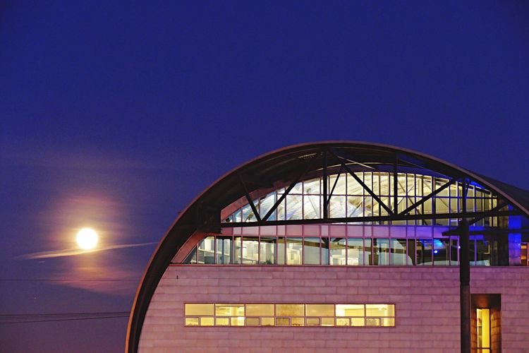 Water Centre moon. Nightphotography Urban Geometry Existing Dark Architectural Detail