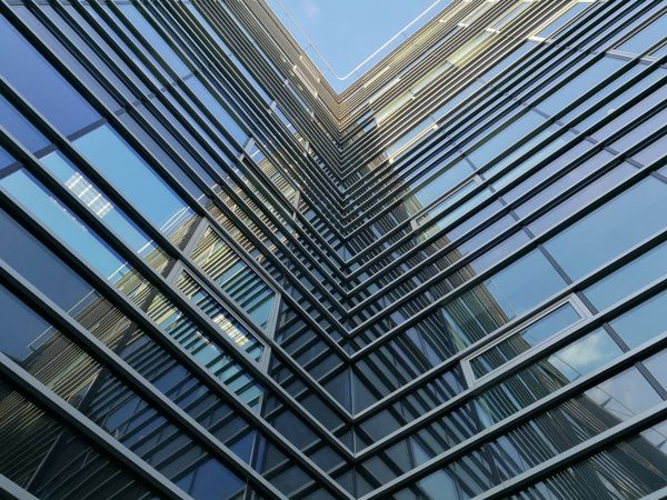 Low Angle View Architecture Built Structure Building Exterior Modern Day City Sky No People Full Frame Backgrounds Outdoors Cityscape Urban Nofilter Huawei Mobilephotography Leica HuaweiP9 Dual Camera Blue Architecture Cloud - Sky Budapest Mobile Photo