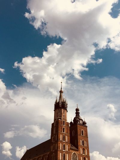 Krakow Crakow Poland Polska Cloud - Sky Sky Architecture Built Structure Building Exterior Low Angle View Building Belief Religion Day Nature Travel Destinations Place Of Worship Spirituality History Tall - High Outdoors The Past Tower No People