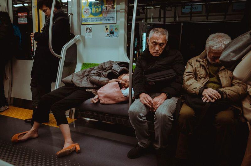 Men Adult Senior Adult Senior Men Sitting Group Of People Full Length Real People Lifestyles Public Transportation Indoors