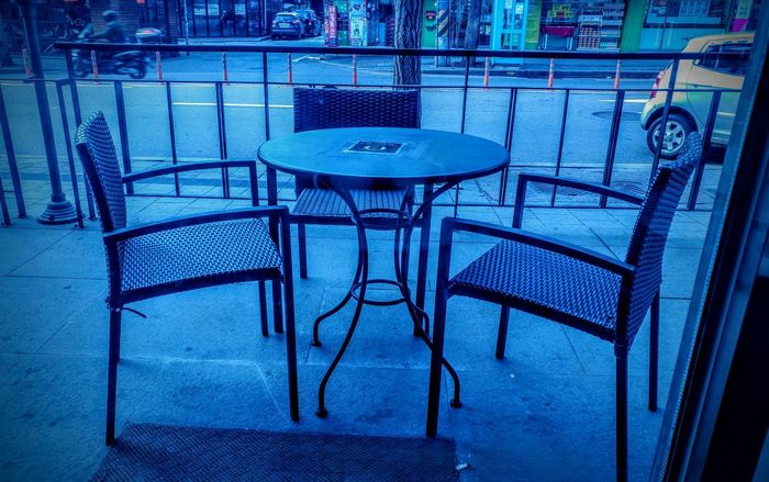 Sensitive Photo Sensitivity Sensibility Sensitive Morning Cafe Blue Chair Empty Table Metal No People Pattern Restaurant Metal Grate Outdoors Day Nature
