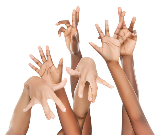Childhood Close-up Communication Cut Out Day Friendship Gesturing Human Body Part Human Hand Manicure People Real People Studio Shot Togetherness White Background Women Young Adult