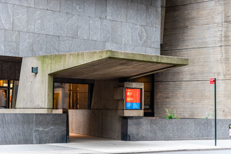 MET Breuer modern art museum in Madison Avenue Architecture Building Exterior Built Structure Outdoors Manhattan New York NYC USA America Whitney Museum Met Breuer Museum Madison Avenue Cultures Architecture Modern Landmark Metropolitan Modern Art Exhibition No People Entrance Door Day Building Communication Wall - Building Feature Empty Text Glass - Material City Wall Absence Wood - Material Façade