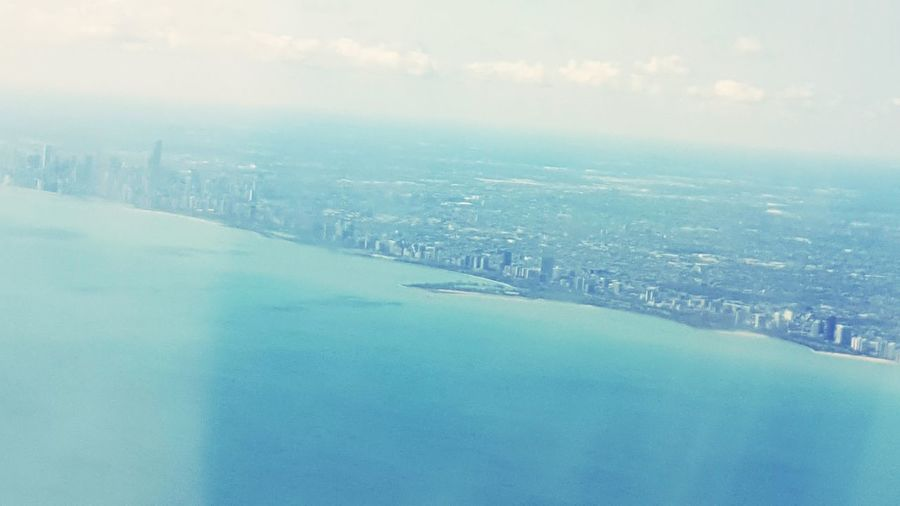 Travel Traveling Airplane Chicago Flying Light And Shadow Perspective Sky And Clouds Water Waterscape Cityscapes City Morning Arrival