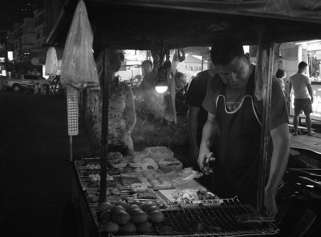 The Street Photographer - 2017 EyeEm Awards Night Adults Only Real People People Men Standing Blackandwhitephotography Phuket,Thailand Patong Outdoors StreetFoodMarket Streetfoodasia Food And Drink Foodseller