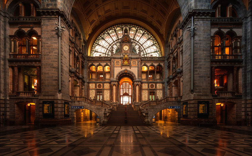 Antwerp central railway station hallway Architecture Built Structure Building Place Of Worship History Arch Illuminated Travel Destinations Architectural Column Stationary Entrance Hall Antwerp Antwerp Central Station Belgium No People Reinaroundtheglobe Indoors  Railway Station Hallway