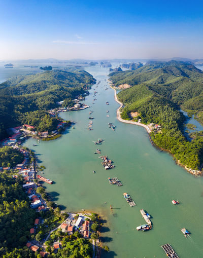 High angle view of boats in sea