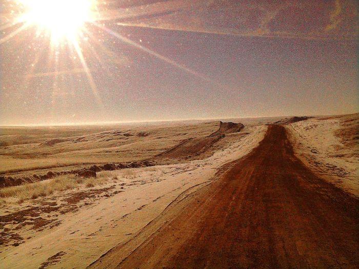 Bakken Shale Lease Road Bakken Crude Life Arid Climate Sand Sunlight Sun Beach Tire Track Clear Sky Sunbeam Lens Flare
