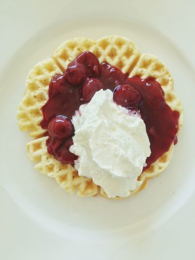 Waffle with Cherries and cream Waffles And Icecream Waffle Food And Drink Food Sweet Food Dessert Freshness Sweet Ready-to-eat Berry Fruit Fruit Plate Breakfast Strawberry Cream Unhealthy Eating My Best Travel Photo Autumn Mood