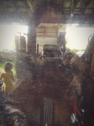 Mirror Reflection Through The Window Behind The Screen Barn Barnyard Child Nostalgic Place Going Home... Rural Scene Childhood Memories Memories Time To Reflect Countryside Fragility Nostalgia Warm Glow Close-up Truck Graveyard Rundown Dusty