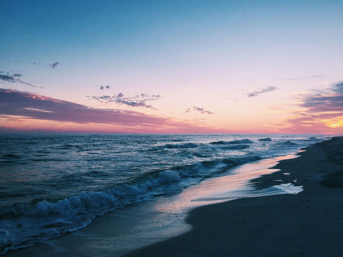 Beach Beauty In Nature Day Gorgeous Horizon Over Water Nature No People Outdoors Pink Sky Sand Scenics Sea Sky Sunset Tranquil Scene Tranquility Water Wave