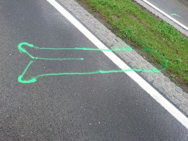 Accident Asphalt Blue Day Diminishing Perspective Elevated View Emergency Empty Grass Green Color Growth Nature No People Outdoors Road Road Marking The Way Forward Unfall Vanishing Point