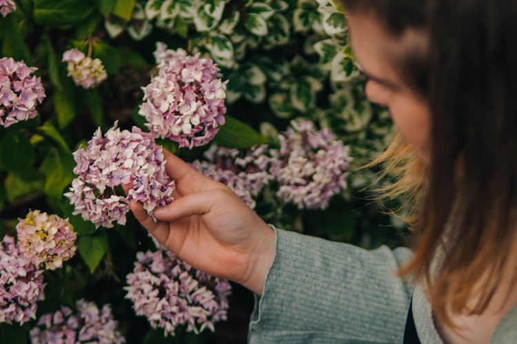 Woman holding pink flowering plants