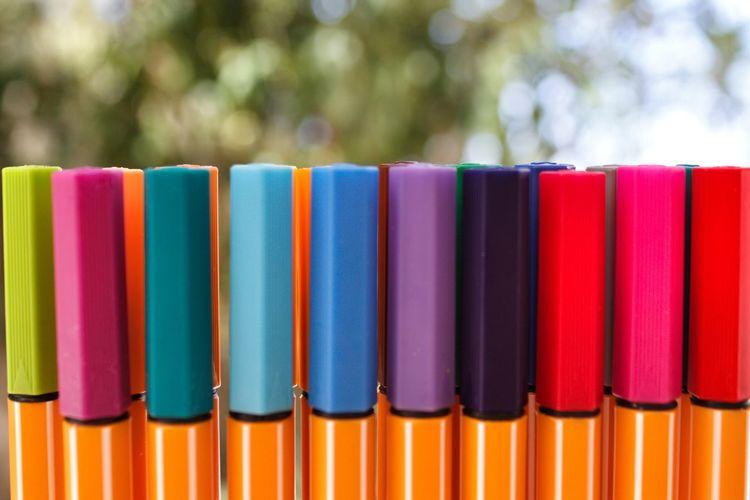 Close-up of multi colored felt tip pens