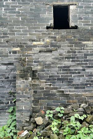 Brick Wall Window Hole Village Jiangmen Guangdong China Canton Travelphotography