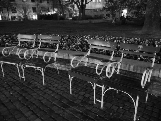 Armchairs Outside Arrangement Blackandwhite Blackandwhite Photography Budapest City Empty Evening Lights No People Outdoors Park In The Evening Seat Side By Side Urbanphotography