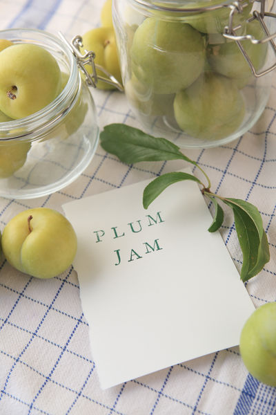 Fresh plums for jam-making in glass jars Blue Close-up Concept Copy Space Day Dish Cloth Fabric Fresh Fruit Glass Jars Green Color Grid Pattern Harvest Healthy Eating Indoors  Leaves Making Jam Natural Light No People Overhead Preserving Still Life Text White Words