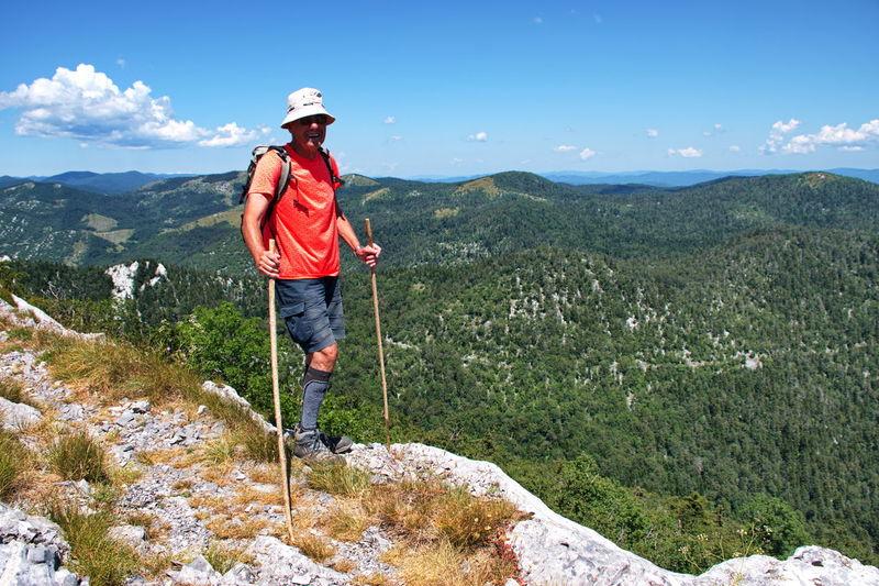 Senior won hiking in velebit mountain, croatia