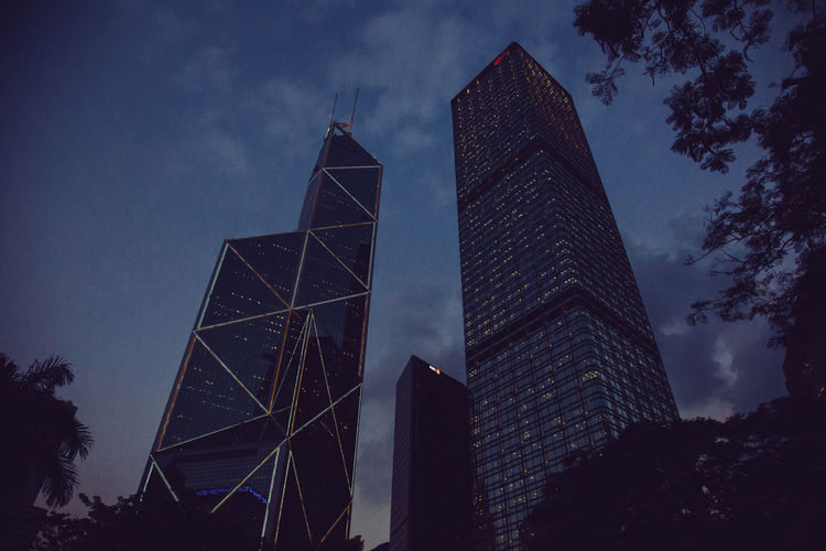 Hong Kong Streets Hong Kong Hong Kong City Architecture Building Building Exterior Built Structure City Cloud - Sky Dusk Financial District  Low Angle View Modern Nature No People Office Building Exterior Outdoors Plant Sky Skyscraper Streetphotography Tall - High Tower Travel Destinations Tree
