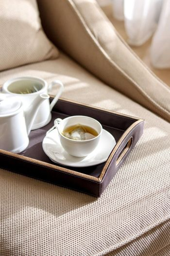 High Angle View Of Cup With Kettle In Serving Tray On Bed At Home