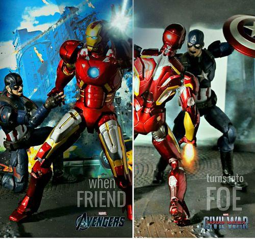 """ FRIEND or FOE ? "" Toys Actionfigures Shfiguartsphotography Revoltech Captainamerica Ironman Theavengers Captainamericacivilwar Marvelmovies"