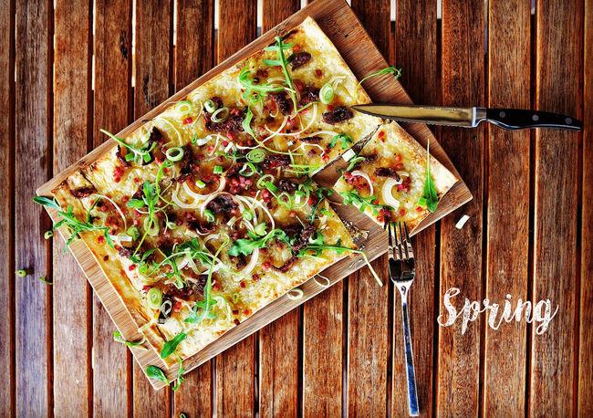 Bread Food Foodporn Herbs Spring Spring Food Springtime Tarte Flambee Wood - Material